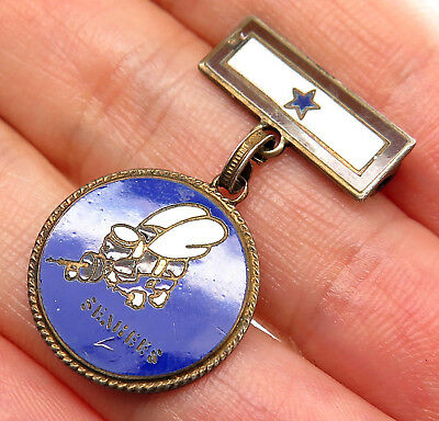 Antique WWII 925 Sterling Silver Enamel US Navy Seabees Son In Service Pin