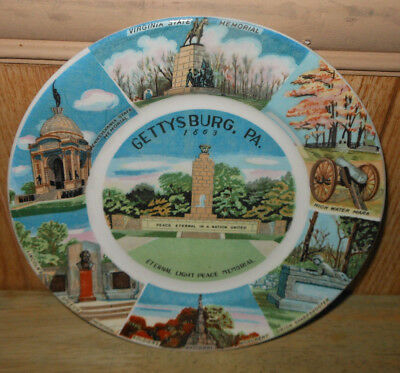 Old Souvenir China Plate Assorted Monuments Gettysburg, Pa.