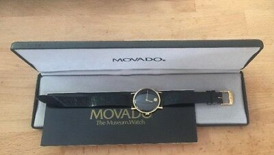 Manual Wind Movado Museum Watch 14K Gold Box Papers