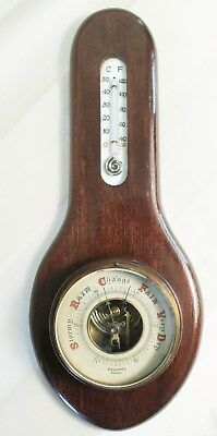 1900's Ovington's Mahogany Spoon Wall Barometer Spiral Thermometer Glass Face