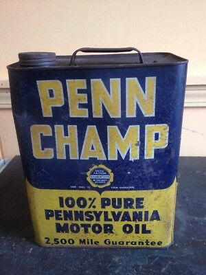 Vintage Penn Champ Two Gallon Oil Gas Can Service Station Advertising