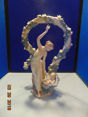 Retired Llardo # 6571, Rebirth Mother And Child With Flowers 16.50' Tall