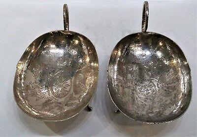 Interesting Pair Of Antique Silver Sweetmeat Dishes, Thai Or Burmese, 19Th C.