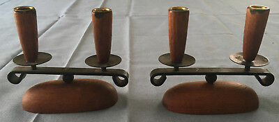 Pair Of Vintage Wood And Metal Mid-Century Danish Modern Candle Holders