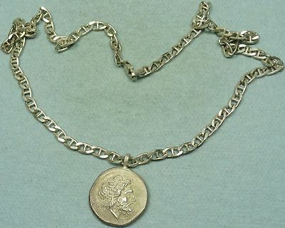 Large Greek Silver Coin Pendant W/ Necklace