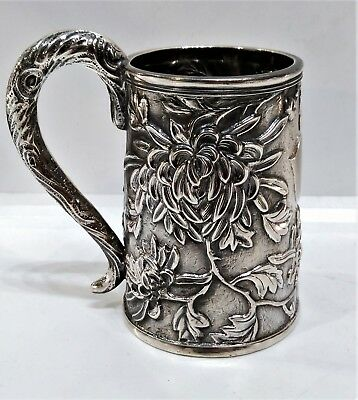 Antique Chinese Silver Tankard With Vacant Cartouche & Chrysanths, China C. 1880