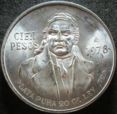 1978 Mexico .6428 Ounce Silver One Hundered Peso Coin