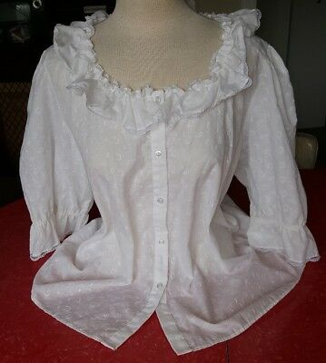 Vintage Malco Modes Square Dance Blouse White Embroidery W/lace Size Xl #2506