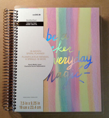 """NEW! 2018-2019 Creative Year """"WATERCOLOR STRIPE"""" Hourly Spiral Planner 18-Months"""