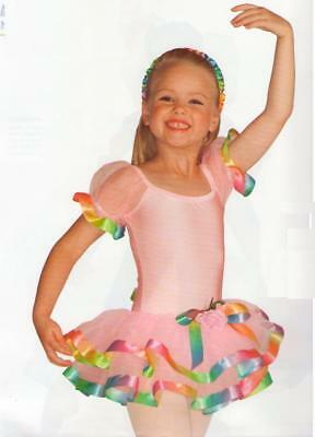 Over The Rainbow Dance Costume Colored Ribbon Trim Ballet Tutu Child Large