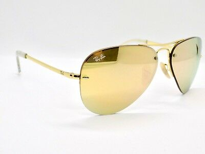 Ray Ban Semi Rimless Highstreet Aviator Flash Lens RB3449 001/2Y 59mm & Case