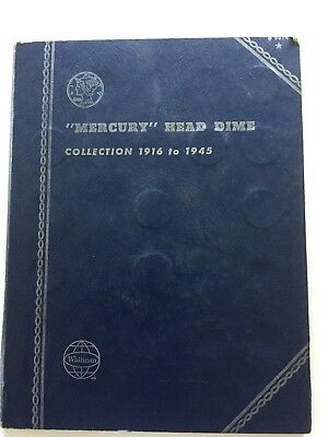1916-1945 Whitman Mercury Dime Collection Book With 34 Coins
