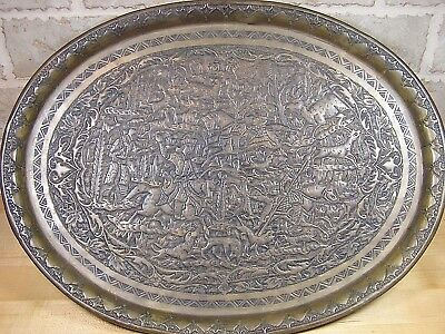 Antique Arts & Crafts Copper Repousee Tray Medieval Hunting Scene Fine Detail
