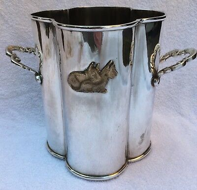 Wine Cooler Scottie Dogs Detail Art Deco Style Silver Plated Ice Bucket