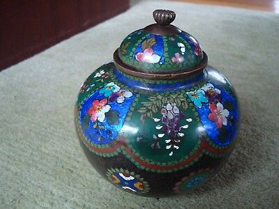 Antique Possibly Japanese Cloisonne Lidded Jar With 3 Feet Restoration To Lid