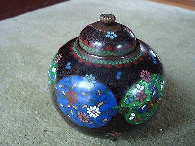 Antique Possibly Japanese Cloisonne Lidded Jar With 3 Feet Slight Damage To Lid