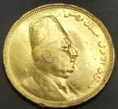 1923 Egypt 20 Piastres 1.7g Gold Coin King Foad or Fuad [AK8779]