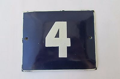 Vintage Enamel Porcelain Sign House Door Number 4 Classical Cobalt Blue