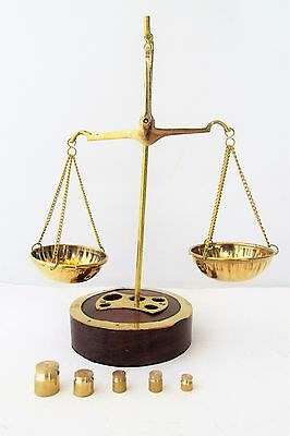 Vintage Bronze Apothecary Scale Balance With Weights