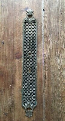 Large Antique Cast Brass Finger Plate Door Handle Georgian Vintage Old  50cm