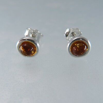 Genuine, Cognac / Brown BALTIC AMBER Stud Earrings 925 STERLING SILVER #1961