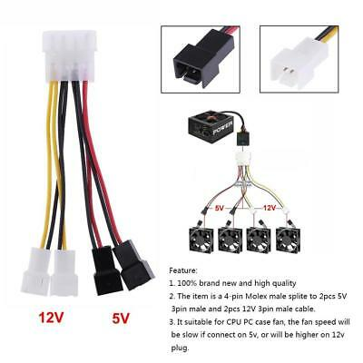 12V 4-Pin Molex to 3-Pin CPU PC Case Fan Power Splitter Cable Adapter Connector