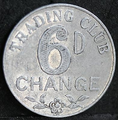 Barnsley British Cooperative Society. Trading Club 6d Sixpence Change Token.