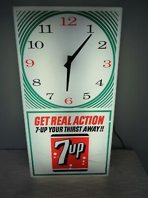 Vintage 1950's 7UP Soda Store Advertising Lighted Clock - GET REAL ACTION