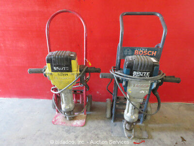 Lot of (2) Bosch Brute Electric Jack Demo Hammer Breaker 120V w/ Dolly Cart