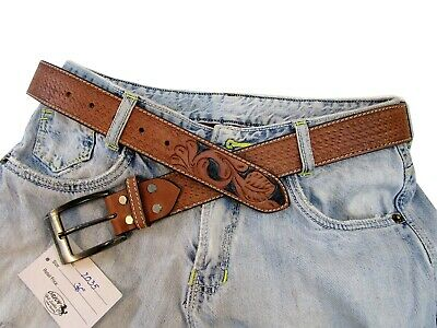 Thick Leather Mens Belt Buffalo Hide Hand Tooled Fashion Women Belts Casual Wear