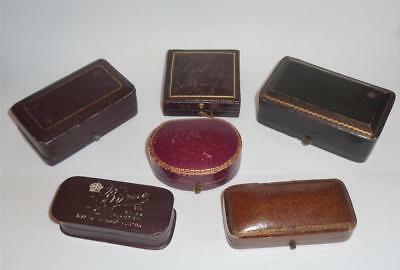 ANTIQUE LEATHER JEWELLERY BOX x 6 BROOCH NECKLACE BOXES