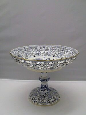 Antique MEISSEN Blue Onion Reticulated Compote with Gold Trim
