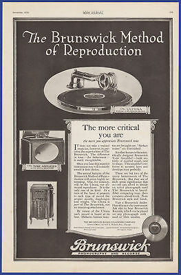 Vintage 1920 BRUNSWICK Phonograph and Records Tone Amplifier Print Ad 20's