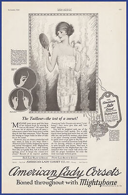 Vintage 1920 AMERICAN LADY CORSETS Lingerie Fashion Mightybone Print Ad 20's