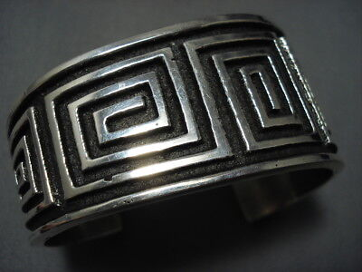 Important Aaron Anderson Sterling Silver Maze Geoemtric Bracelet Cuff