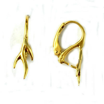24K Gold Plated Sterling Silver 23mm Leverback Earring Findings