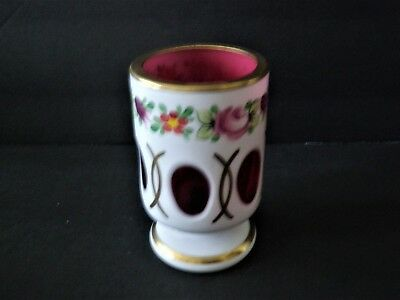 Bohemian Glass Toothpick Holder - White Cut To Cranberry w Hand Painted Flowers