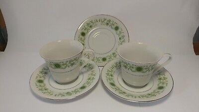 Pair of Towne House Green Dale 3077 Cup & Saucer Sets with Extra Saucer