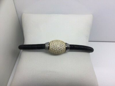 Sterling Silver Bangle Black Ip & Yellow Gold Plating W/ Pave Cz's