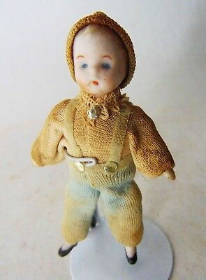 German French Bisque Doll Antique Old Vintage Miniature Dollhouse Small Baby Boy