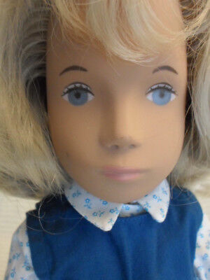 Vintage Sasha 115S Blonde Girl Doll Blue Tunic, Made in England, Box and Tag