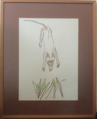 Sidney Nolan Signed  Original Crayon Drawing The Wild Dog