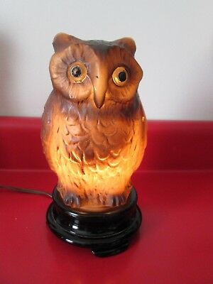 Vintage - ALL GLASS - Figural OWL  NIGHT LIGHT by TIFFIN GLASS Co - Original