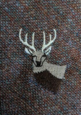 Gents brown wool tie by Partridge of Redditch embroidered stags head motif