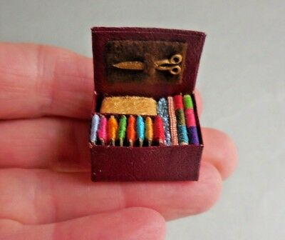 Dollhouse Miniature ~  Leather Sewing Box