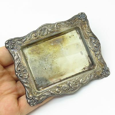 Vtg Signed 925 Sterling Silver Floral Repousse Bon Bon / Nut / Snack Small Dish