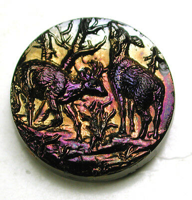 """Antique Black Glass Button 2 Deer in the Forest w/ Carnival Luster - 11/16"""""""