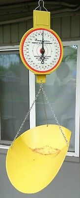 Vintage Antique American Family Scale Yellow Hanging 60lb Produce