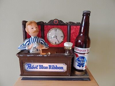 Pabst Blue Ribbon Beer Lighted Bar Sign Vintage PBR Bartender Clock 1958 bottle