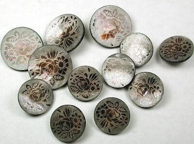 """12 Iridescent Shell Buttons Laser Carved Flowers Design - 11/16 to 7/8"""""""